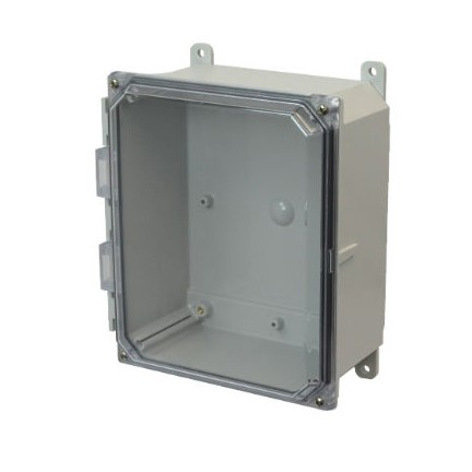 10x8x4 NEMA 4X Polycarbonate ENCL CLEAR Lift-Off Screw Cover FOOT MOUNT