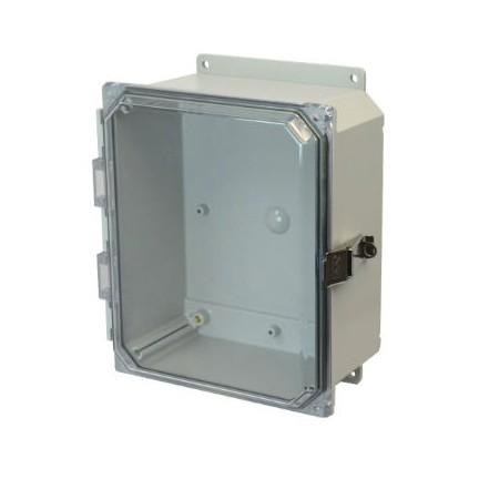 10x8x4 NEMA 4X Polycarbonate Encl Quick-Release Latch Clear Hinged Cover Flange Mount
