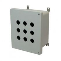 10x8x6 NEMA 4X Fiberglass Enclosure Hinged Screw Cover 9 PB Cutouts 30.5MM