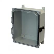 10x8x4 NEMA 4X Fiberglass Enclosure Quick-Release Latch Clear Hinged Cover Foot Mount