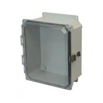 10x8x4 NEMA 4X Fiberglass Enclosure Quick-Release Latch Clear Hinged Cover Flange Mount