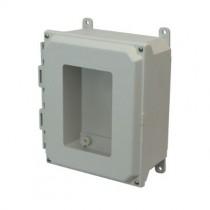 10x8x4 NEMA 4X Fiberglass Enclosure Lift-Off Screw Cover Window Foot Mount