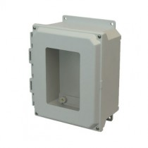 10x8x4 NEMA 4X Fiberglass Enclosure Lift-Off Screw Cover Window Flange Mount