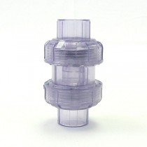 "1"" Clear PVC True Union Ball Check Valve (S x S)"