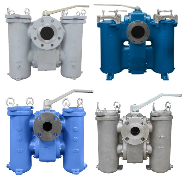 Multiple Color Titan Flow Control duplex strainer products